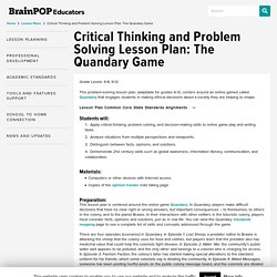 Problem Solving Lesson Plan: The Quandary Game
