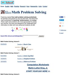 Math Problem Solving - Free Worksheets
