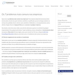 Os 7 problemas mais comuns nas empresas - Lederman Consulting & Education