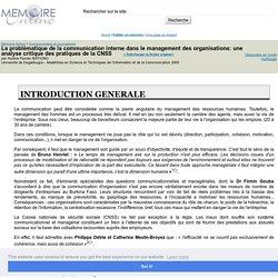 La problématique de la communication interne dans le management des organisations: une analyse critique des pratiques de la CNSS - Arsène Flavien BATIONO