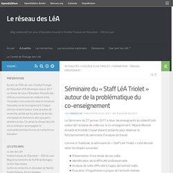 Séminaire du «Staff LéA Triolet» autour de la problématique du co-enseignement – Le réseau des LéA