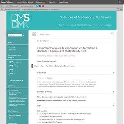 Les problématiques de conceptionen formation à distance: Logiques et contextes du web (JF Bourdet)