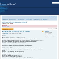 Probleme avec l'edition d'article en frontend - Joomla!