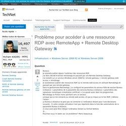 Problème pour accéder à une ressource RDP avec RemoteApp + Remote Desktop Gateway