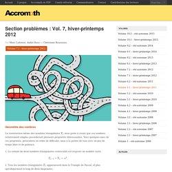 Section problèmes: Vol. 7, hiver-printemps 2012