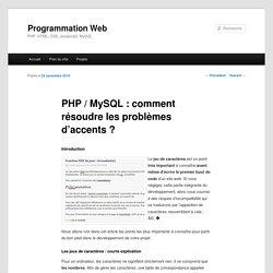 PHP / MySQL : comment résoudre les problèmes d'accents ?
