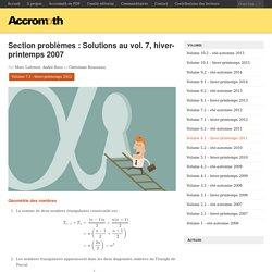 Section problèmes: Solutions au vol. 7, hiver-printemps 2007