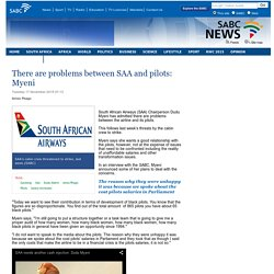 There are problems between SAA and pilots: Myeni:Tuesday 17 November 2015