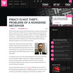 Piracy is NOT Theft: Problems of a Nonsense Metaphor