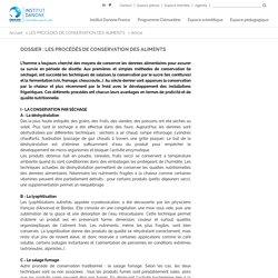 Dossier : LES PROCÉDÉS DE CONSERVATION DES ALIMENTS - Institut Danone