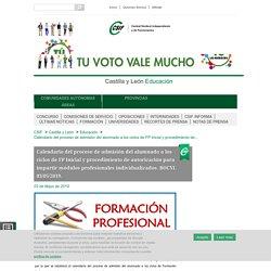 Castilla y León Educación - Calendario del proceso de admisión del alumnado a los ciclos de FP Inicial y procedimiento de autorización para impartir módulos profesionales individualizados. BOCYL 03/05/2019.