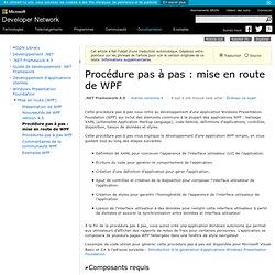 Procédure pas à pas: mise en route de WPF