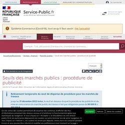 Seuils de procédure et seuils de publicité des marchés publics - professionnels