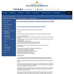 Les nouvelles procédures administratives de l'Etat