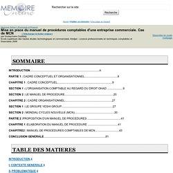 Mise en place du manuel de procédures comptables d'une entreprise commerciale. Cas de MCN - Souleymane Coulibaly