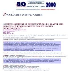 BO Spécial N°8 du 13 juillet 2000 - Les procédures disciplinaires