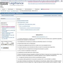 Livre des procédures fiscales - Article A47 A-1