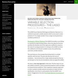 Variable Selection Procedures - The LASSO