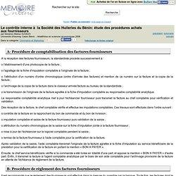 Le contrôle interne à la Société des Huileries du Bénin: étude des procédures achats aux fournisseurs - Sènanou Marius DJODJO