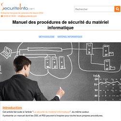 Manuel des procédures de sécurité du matériel informatique