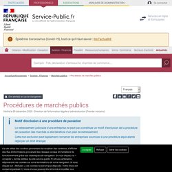 Procédures de marchés publics