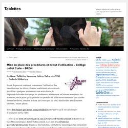 Mise en place des procédures et début d'utilisation – Collège Joliot Curie – BRON