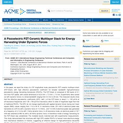 A Piezoelectric PZT Ceramic Multilayer Stack for Energy Harvesting Under Dynamic Forces