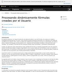 Procesando dinámicamente fórmulas creadas por el Usuario