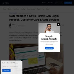 UAN Member e-Sewa Portal - Login Process, Customer Care & UAN Services