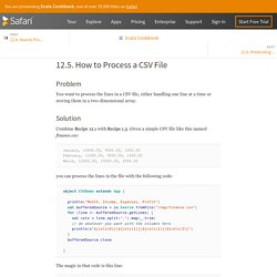 12.5. How to Process a CSV File - Scala Cookbook [Book]