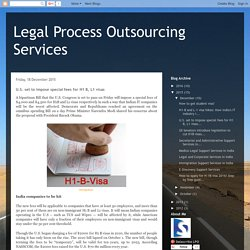 Legal Process Outsourcing Services: U.S. set to impose special fees for H1 B, L1 visas