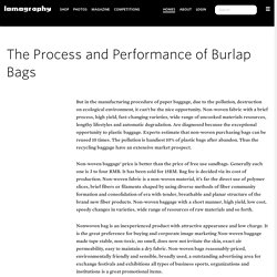 The Process and Performance of Burlap Bags