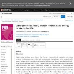 Ultra-processed foods, protein leverage and energy intake in the USA