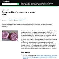 DEFRA 09/02/13 Processed beef products and horse meat