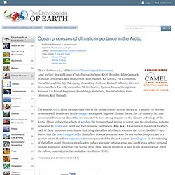Ocean processes of climatic importance in the Arctic