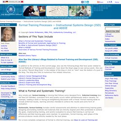 Instructional Systems Design (ISD) and ADDIE
