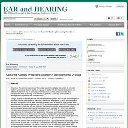 Comorbid Auditory Processing Disorder in Developmental Dysle... : Ear and Hearing