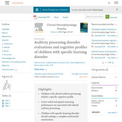 Auditory processing disorder evaluations and cognitive profiles of children with specific learning disorder