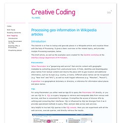 Processing geo information in Wikipedia articles - Creative Coding - Tutorial
