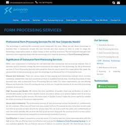 Form Processing Services, Outsource Manual and Automated Form Processing Services