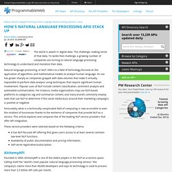 How 5 Natural Language Processing APIs Stack Up