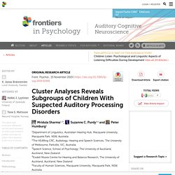 Cluster Analyses Reveals Subgroups of Children With Suspected Auditory Processing Disorders