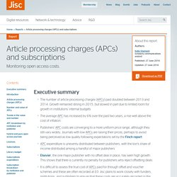 Article processing charges (APCs) and subscriptions