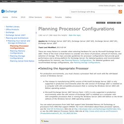 Planning Processor Configurations: Exchange 2007 Help