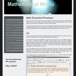 Math Word Processor - mathematicalmindss jimdo page!