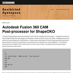 Autodesk Fusion 360 CAM Post-processor for ShapeOKO