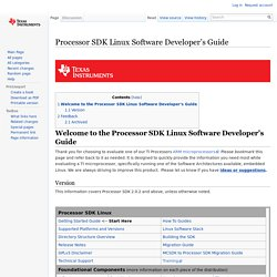 Processor SDK Linux Software Developer's Guide