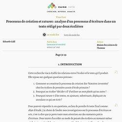 Processus de création et ratures: analyse d'un processus d'écriture dans un texte rédigé par deux écolières