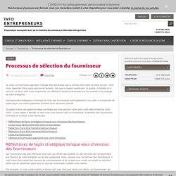 Processus de sélection du fournisseur