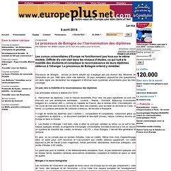 Le processus de Bologne ou l'harmonisation des diplômes